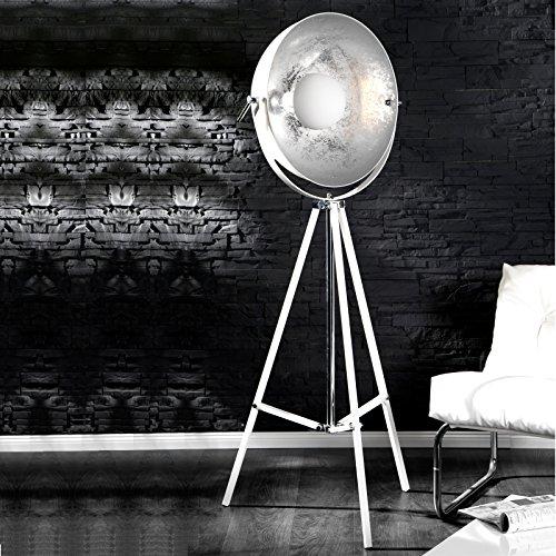 Moderne Design Stehlampe STUDIO weiss silber Lampe Blattsilber -