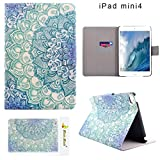 Moon mood PU Leder Schutzhülle für Apple iPad Mini 4 (7.9 Zoll) Hart PC Innern Hülle mit Bunte Malerei 2 Kartenfächer Standfunktion Tasche (Blau Blume Totem)