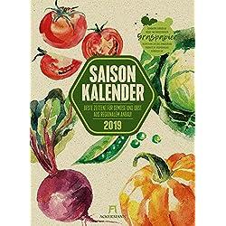 Saisonkalender Gemüse & Obst 2019, Wandkalender auf Graspapier im Hochformat (33x45 cm) - Illustrierter Kalender mit Monatskalendarium