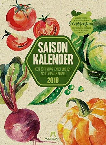 Image of Saisonkalender Gemüse & Obst 2019, Wandkalender auf Graspapier im Hochformat (33x45 cm) - Illustrierter Kalender  mit Monatskalendarium