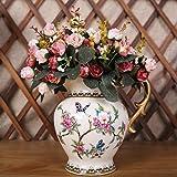 Luyue, Künstliche Seiden-Blumen-Sträuße mit 7Stielen und 21 Rosen, 2Stück Pink coffee - 4