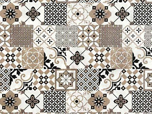 Italian Home Textile Company Tessuto per Tovaglie : Motivo Maioliche VAR. Grigia e Nera| Prodotto Made in Italy | 100% Puro Cotone | Altezza 180 cm | Il Tessuto è in Vendita al Metro
