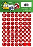 75 nummerierte Klebepunkte, 25 mm, rot, aus PVC Folie, wetterfest, Markierungspunkte Kreise Punkte Zahlen Nummern Aufkleber