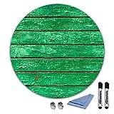 decorwelt | Runde Magnettafel 70x70 cm Holz-Optik Grün Glas-Magnettafel Whiteboard Wand Beschreibbar Magnetisch Pinnwand Küche Office mit Zubehör Wochenplaner Abwischbar Deko Memoboard Tafel