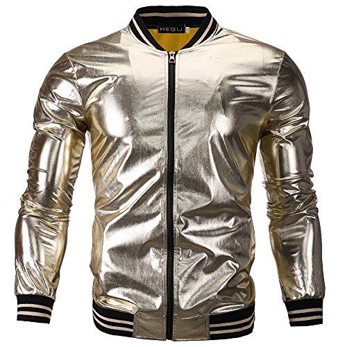 Wangyue Herren Slim Fit PU Leder Bikerjacke Zip Up Baseball Bomber Mantel Gold XXL
