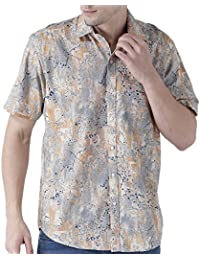 Zeal Men's Printed Beige And Grey Half Sleeve Casual Shirt