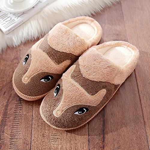 DogHaccd pantofole,Inverno di cotone femmina pantofole Cartoon carino maschio spessa coperta calda morbida antiscivolo pantofole Brown2