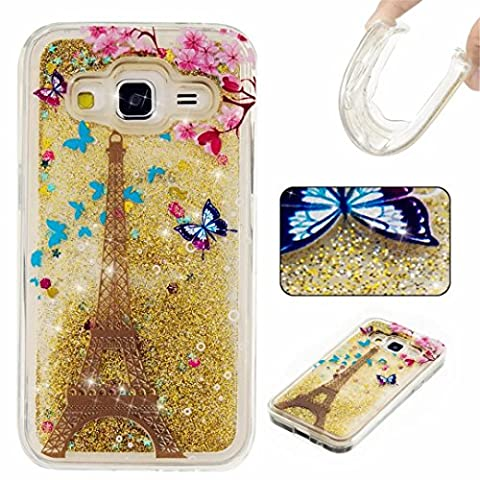 KSHOP Samsung Galaxy G360 Case,Generation Case Liquid Glitter Case Bling Floting Quicksand Full of Lover Stars Soft TPU Silicone Ultra Thin Lightweight Rubber SmartPhone Protective Back Cover
