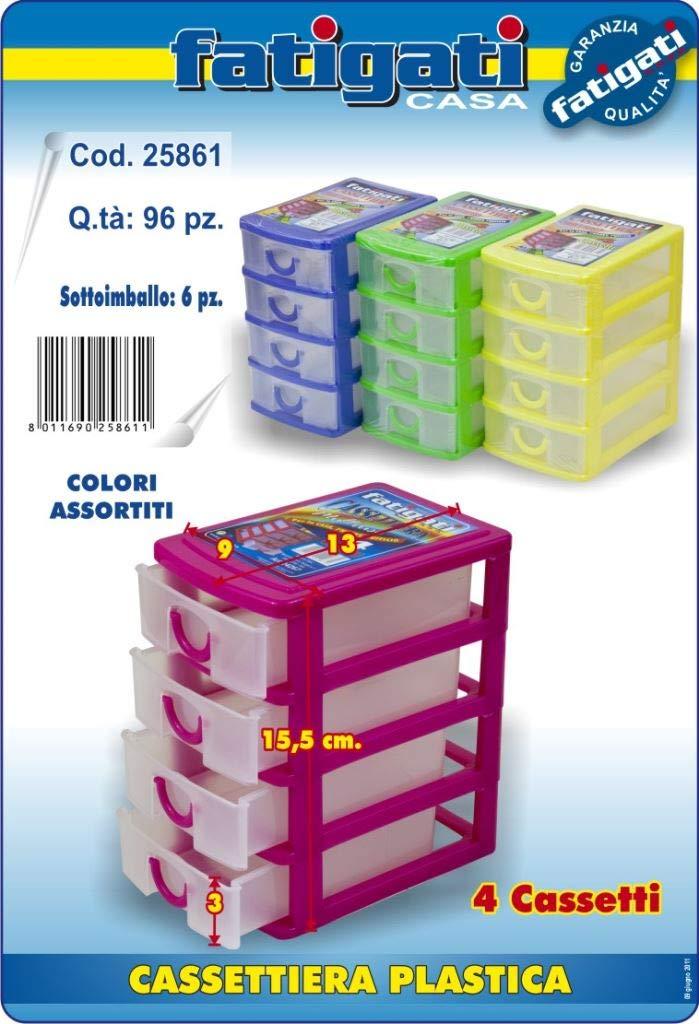 Cassettiere In Plastica Per Ufficio.Cassettiera In Plastica Porta Minuteria Con 4 Cassetti Per La Casa Per Hobby E Per L Ufficio Colori Assortiti