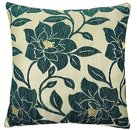 LUXURY CHENILLE FLORAL FLOWER THICK TEAL BEIGE GOLD CUSHION COVER 18