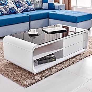 Willstone White High Gloss Coffee Table With Black Tempered Glass Top,  Modern Design 2 Drawers