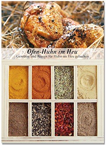 8 verschiedene Gewürze für Ofen-Huhn im Heu - Gewürze für leckeres Landgericht - Ideal als Hähnchen-Gewürz-Geschenk - Perfektes Landhaus-Küche Ofen-Gericht - von Feuer & Glas