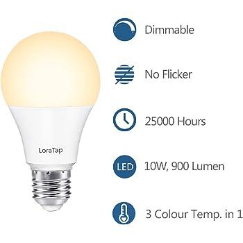 LoraTap Juego Bombilla Luz Lámpara LED E27 Regulable Dimmable Control Remoto Inalámbrico (Lámpara LED E27)
