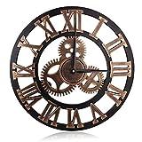 Acquista Orologio da Parete in Legno 3D Vintage Europeo con Ingranaggi Decorativi e Numeri Romani