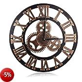 Orologio da Parete in Legno 3D Vintage Europeo con Ingranaggi Decorativi e Numeri Romani