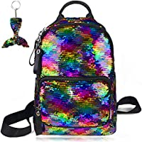 Sequin Backpack for School Reversible Flip Magic Glittering Shining Rainbow Mermaid Bookbag with Key Chain Lightweight Mini Shoulder Bag Gift for Girls Kids Daughter