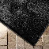 Floordirekt Shaggy-Teppich Prestige | Schwarz | weicher Hochflor Teppich für Wohnzimmer, Schlafzimmer, Kinderzimmer | Viele Größen (Schwarz, 70x130 cm)