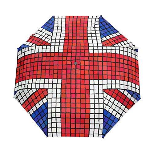 COOSUN UK Flag Union Jack Mosaic Automatic 3 Folding Parasol Umbrella