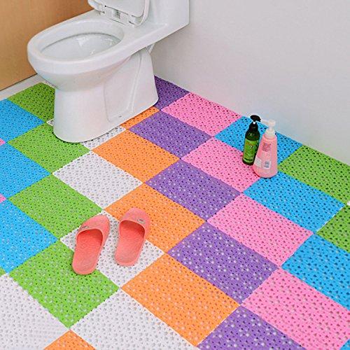 Bluelover Diy Carpet Candy Colori Di Plastica Bagno Stuoie Massaggio Tappeto Doccia Antiscivolo Mat-Pink-Square