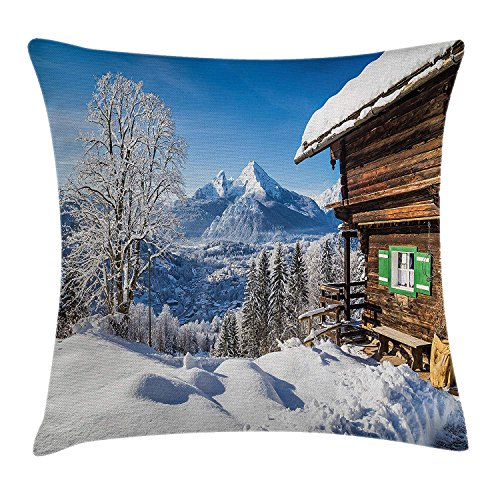 RAINNY Winter Decor Throw Pillow Cushion Cover by, Snowy Wonderland Mountain Peaks with Wooden House Rural Idyllic Alps Scenery, Decorative Square Accent Pillow Case, 18 X 18 Inches, White Brown -