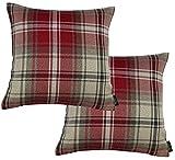 McAlister Textiles Signature Kollektion | 2er Packung Angus Kissenbezüge im Tartan-Muster Kariert 40cm x 40cm in Rot | Deko Kissenhülle für Zierkissen, Sofa, Bett, Couch