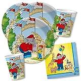 36-teiliges Party-Set - Elefant Benjamin Blümchen - Teller Becher Servietten für 8 Kinder