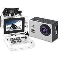 Yuntab A9 Caméra de Sport action caméra étanche Full HD 1080p H.264 avec Caméscope HD Vidéo de 5 Mégapixels grand angle 120 degrés et accessoires avec boitier étanche et adaptateur (Argenté)