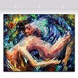 TTKX@ Spachtel Ölgemälde Akt Sexy Nackte Frau und Mann Körper Kunst Malerei Paar Malerei Zimmer Kunst Dekoration, 100X120Cm