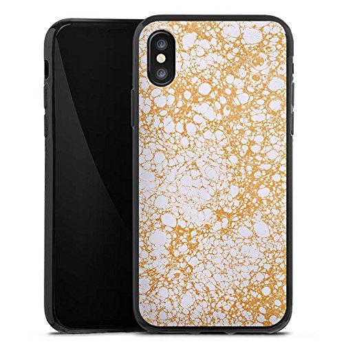 Apple iPhone X Silikon Hülle Case Schutzhülle Wabe Wachs Muster Silikon Case schwarz