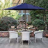 Grand patio Sombrilla Terraza Patio Jardín Piscina Ø 270 cm Impermeable Protección Solar Parasol de Aluminio con Manivela Ventilación Superior, Color Azul