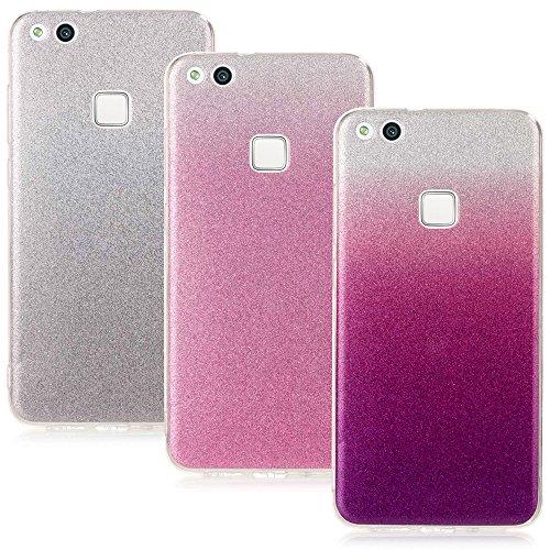 CLM-Tech Huawei P10 Lite Zubehör Set, 3 x TPU Gummi glänzende Hülle Crystal Case Silber rosa lila, Huawei P10 Lite Silikonhülle