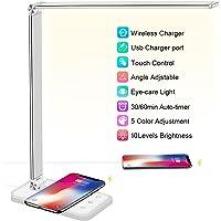 Lampe de Bureau LED avec Chargeur sans Fil, Port de Chargement USB, 5 Modes Lumière, 10 Niveaux de Luminosité, Réglable…