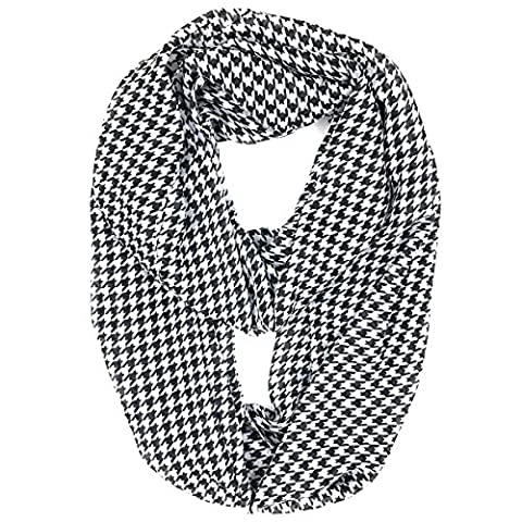 Tapp Collections Multicolor Houndstooth Infinity Scarf - Black White