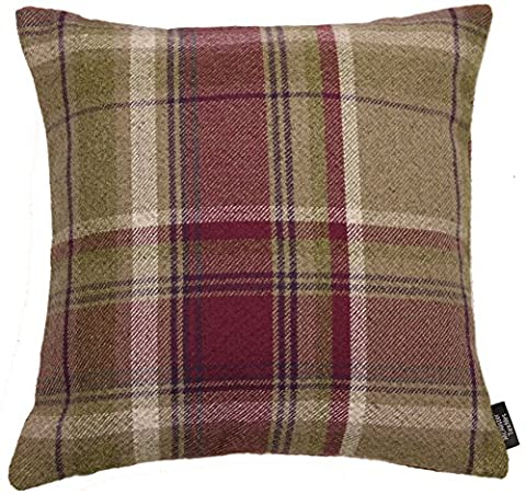 McAlister Textiles Heritage   Soft Wool Feel Woven Tartan Check Tweed Mulberry Purple & Beige Cushions w/ Duck Feather Inner Pad   43cm 16x16