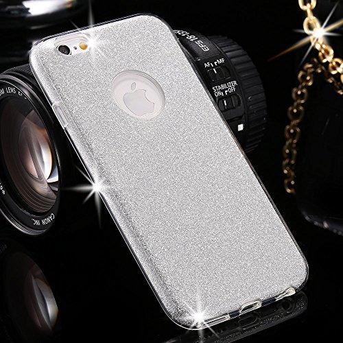 EGO  Glitzer Schutzhülle für iPhone 6 Plus 6S Plus, Silber Back Case Bumper Glänzend Transparente Luxus Bumper TPU Bling Weiche Glamour Handy Cover Silikon Glitter Lipgloss Silber