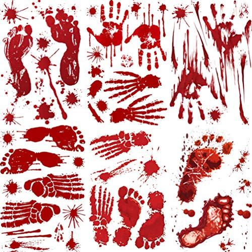 Amosfun 6 blätter Halloween wanddekorationen blutigen Handabdruck fußabdruck Aufkleber schreckliche fensteraufkleber für Bad Haunted House Zombie partydekorationen liefert