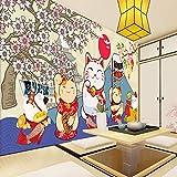 WYZHDQ 3D autoadesiva carta da parati murale Sushi giapponese alla ciliegia(W)300x(H)210cm Adesivi Murali Nursery Per Bambini Camera Da Letto Soggiorno Casa Decorazione di cerimonia nuziale 3d pvc De