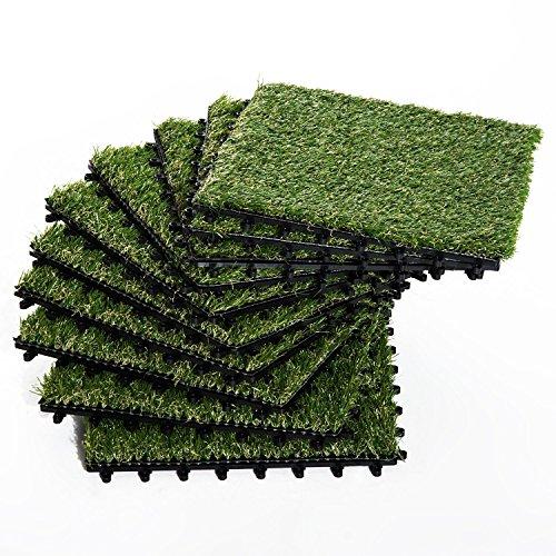 Outsunny Erba Sintetica per Giardino Set di 10pz Prato Artificiale da Esterno