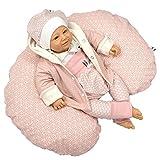 Sharlene Mini- Stillkissen aus Bio Baumwolle mit Bezug - Schadstoffgeprüftes Lagerungskissen - Mikro-Perlen Baby Kissen - Seitenschläferkissen (120 cm, Rosa Beige)
