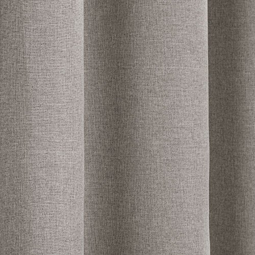 Tony's Textiles Linen Look Textured Thermal Blackout Ring Top Eyelet Curtains – Cream Natural (46″ Wide x 90″ Drop)