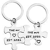 FUSTMW زوجين هدايا الزفاف السيد السيدة 2020 مجموعة سلسلة المفاتيح هدايا للعروسين الجدد هدايا للزوج والزوجة والخطوبة