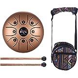 Muslady Tamburo in Acciaio C Chiave 5,5 Pollici Mini 8-Tone Strumento a Percussione Tamburo Handpan con Bacchette per Tamburi