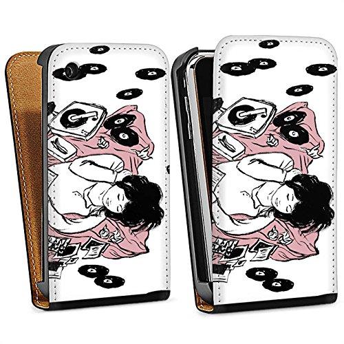 Apple iPhone 5s Housse Étui Protection Coque Fille Musique Platine Sac Downflip noir