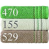Egeria HELGE 46004in 3colori e 2taglie, 500g/m², 100% cotone organico da coltivazione biologica, con motivo decorativo, 100% cotone, 529 Taupe, 70 x 140 cm