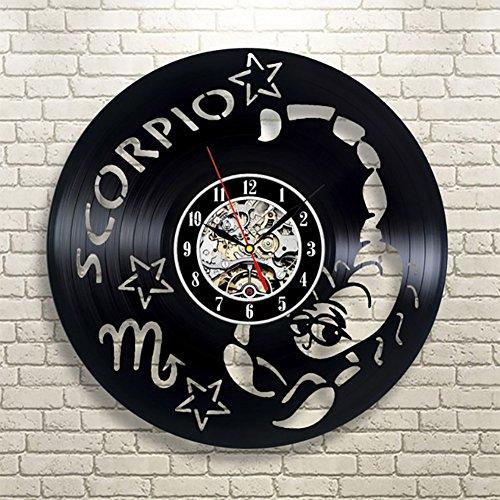 OOFAY Clock@ Wanduhr Aus Vinyl Schallplattenuhr Upcycling Skorpion Sternbilder Familien Dekoration 3D Design-Uhr Wand-Deko Schwarz/Durchmesser 30 - Karikatur-wand-uhr