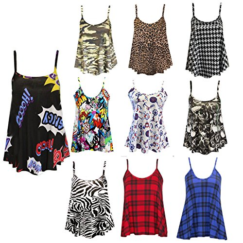 Womens Ladies Cami Sleeveless Swing Vest Top Strappy Printed Flared Plus Sizes Red Tartan Print