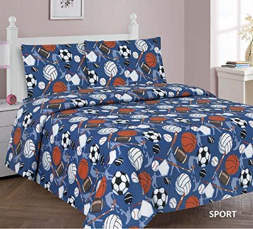 Sapphire Home Kinder-Bettwäsche, Bettdecke und Fenstervorhang, für Jungen und Mädchen, viele lustige Designs und leuchtende Farben, für Jungen und Mädchen Twin Sheet Set Sports (Bettwäsche Mädchen Twin)