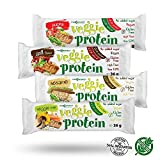 Maxsport Nutrition Vegan Protein Riegel Glutenfrei Veggie Proteinriegel Original Protein snack eiweißriegel mit ausgezeichneten Nährparametern, 0% Zucker, Pflanzen Protein, non GMO, Kosher, Natural, Vegan - 16 Stück (Mix Box)