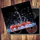 decorwelt Ceranfeldabdeckung 60x52 cm Herdabdeckplatten 1 Teilig Elektroherd Induktion Herdschutz Deko Glasplatte Schneidebrett Sicherheitsglas Spritzschutz Glas Tomate
