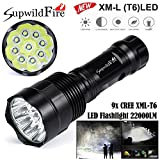 Supperhell Klein LED Taschenlampe, Siswong 22000-35000 LM CREE 5 Mode Tactical HandLampe Laternen Stirnlampe Flashlights (9x/22000LM)